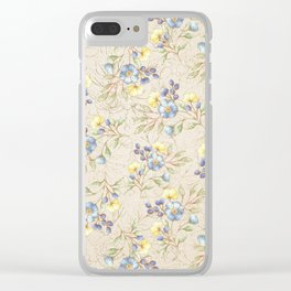 Vintage ivory linen blue yellow gold floral pattern Clear iPhone Case