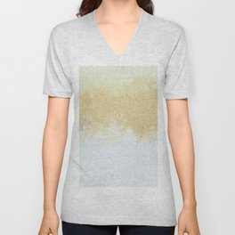 Textured Neutral white and Tan Abstract Unisex V-Neck