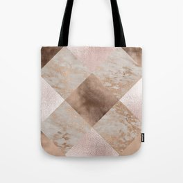 Copper and Blush Rose Gold Marble Gingham Tote Bag
