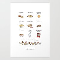 30 rock Art Prints featuring Foods of 30 Rock by Tyler Feder