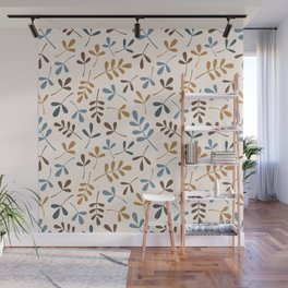 Assorted Leaf Silhouettes Ptn Blues Brwn Gld Crm Wall Mural