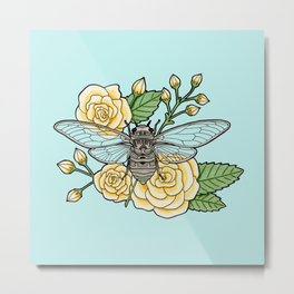 Cicada with Roses - Blue Metal Print