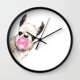 Bubble Gum Sneaky Llama Wall Clock