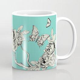 Turquoise Vintage Style Ink Drawing Butterflies Coffee Mug