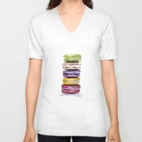 macaroons V-neck T-shirts featuring Macarons by Bridget Davidson