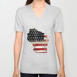 WISCONSIN FLAG Unisex V-Neck