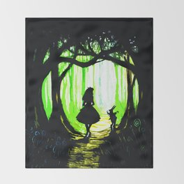 alice and rabbits Throw Blanket
