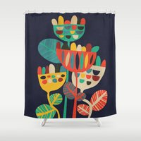 budi satria kwan Shower Curtains featuring Wild Flowers by Picomodi