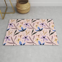 Colorful floral Cut Out Flowers and Shapes XI Rug
