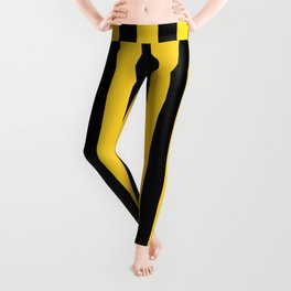 Yellow and Black Honey Bee Vertical Beach Hut Stripes Leggings