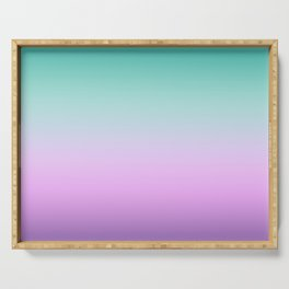 Ombre Pastel Mint Pink Ultra Violet Blurred Gradient Minimal Pattern Serving Tray