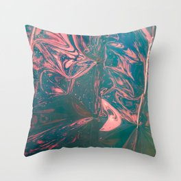 Abstract flamingo - pink, blue and green - Throw Pillow