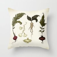 vegetables Throw Pillows featuring Root Vegetables by Abigail Larson