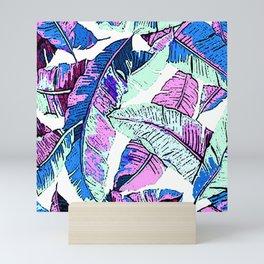 BANANA LEAF PALM PASTEL PINK AND BLUE Mini Art Print