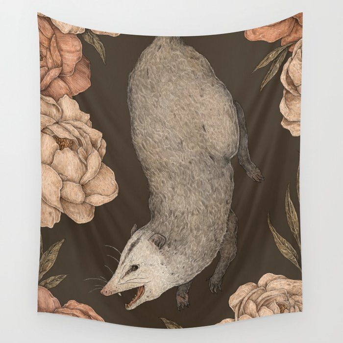 The Opossum and Peonies Wall Tapestry