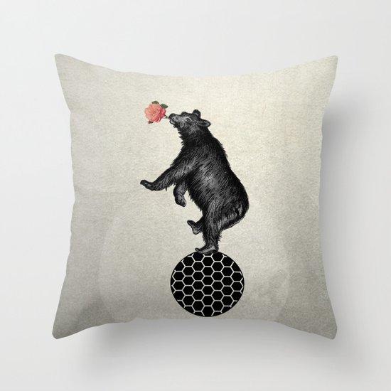bear balance Throw Pillow