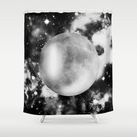 the moon Shower Curtains featuring Moon by haroulita