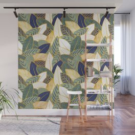 Leaf wall // navy blue pine and sage green leaves golden lines Wall Mural