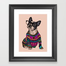 hipster frenchie Framed Art Print