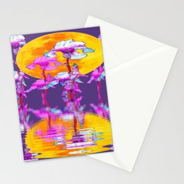 PURPLE-WHITE IRIS & MOON WATER GARDEN  REFLECTION Stationery Cards