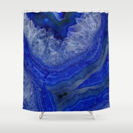 deep blue agate with peach background Shower Curtain