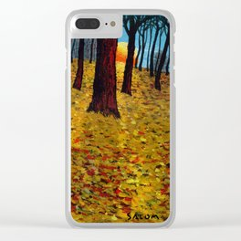 Trunks trees in sunrise Clear iPhone Case