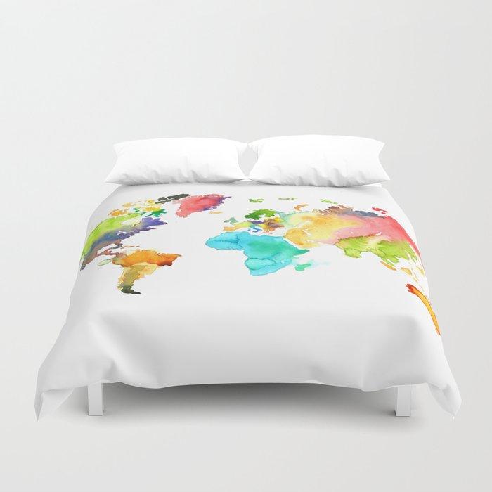 Watercolor World Duvet Cover