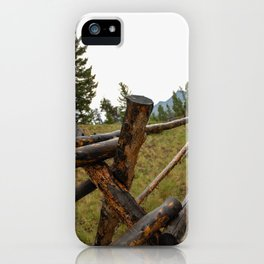 wooden fence in the Rockies iPhone Case