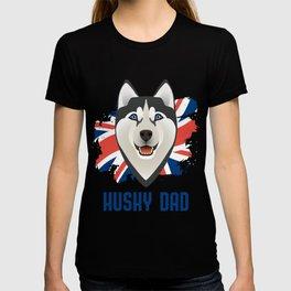 Husky Dad with Union Jack T-shirt