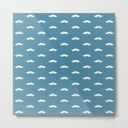 White Mustache pattern on blue background Metal Print