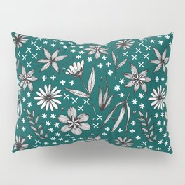 black and white floral on a dark teal background Pillow Sham
