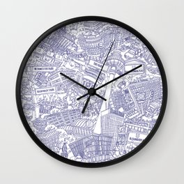 Illustrated map of Berlin-Mitte. Ink pen design Wall Clock