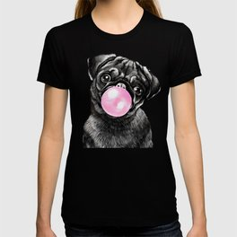 Bubble Gum Black Pug in Green T-shirt