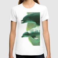 dolphins T-shirts featuring Two Dolphins by Roger Wedegis