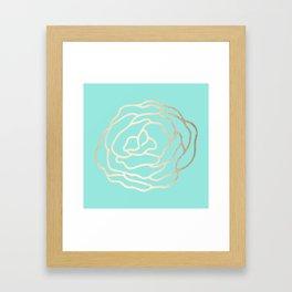 Flower in White Gold Sands on Tropical Sea Blue Framed Art Print