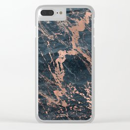 Blue & Rose Gold Marble Clear iPhone Case