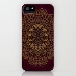 Gold Mandala on Royal Red Background iPhone Case