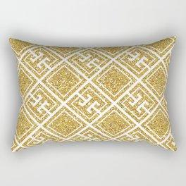 Gold Glitter Greek Pattern Rectangular Pillow