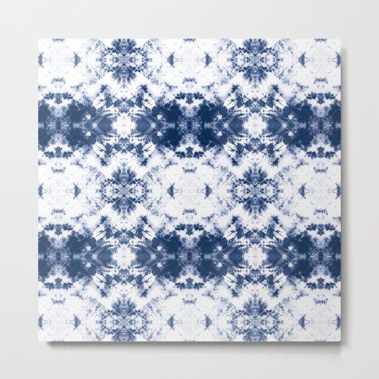 Shibori Tie Dye 3 Indigo Blue Metal Print