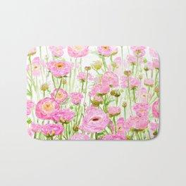 pink buttercup ranunculus field watercolor Bath Mat