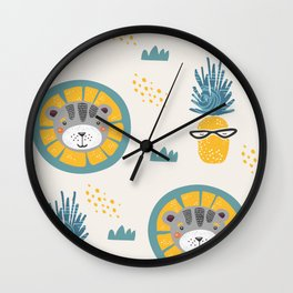 Lion and piniapple Wall Clock
