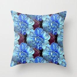 Blue Camelias Throw Pillow