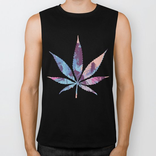 Colorful abstract leaves 1 Biker Tank