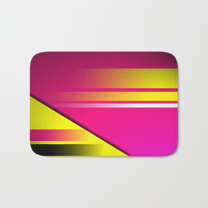 Hot Pink & Yellow Abstract Bath Mat
