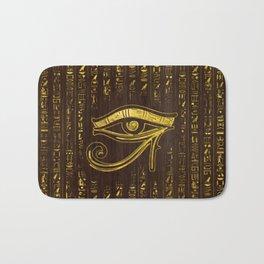Golden Egyptian Eye of Horus  and hieroglyphics on wood Bath Mat