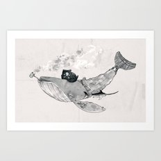 Pirate Whale (black/white option) Art Print