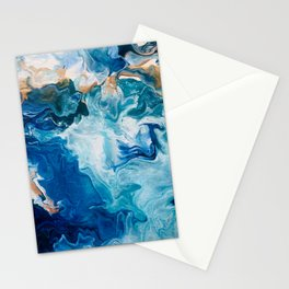 Pour Painting Ocean Stationery Cards