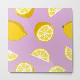 Yellow Lemons Fruits Pattern on Pink Background Metal Print