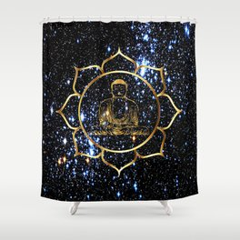 Gold funky Space Buddha Shower Curtain
