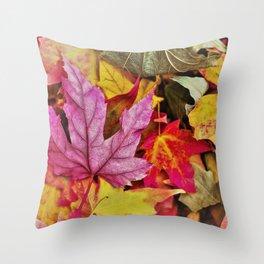 Autumn colorful leaves mountain Throw Pillow